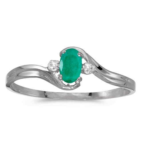 10k White Gold Oval Emerald And Diamond Ring (Size 9.5) - Gold Genuine Emerald Ring