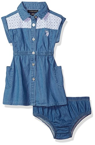 Eyelet Front Button - U.S. Polo Assn. Baby Girls Casual Dress, Eyelet Yoke Button Front Blue wash, 18M