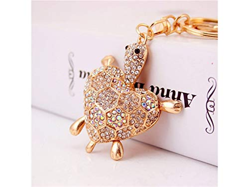 Car Keychain, Cute Diamond Love Back Shell Turtle Keychain Animal Key Trinket Car Bag Key Holder Decorations(White) for Gift by Huasen