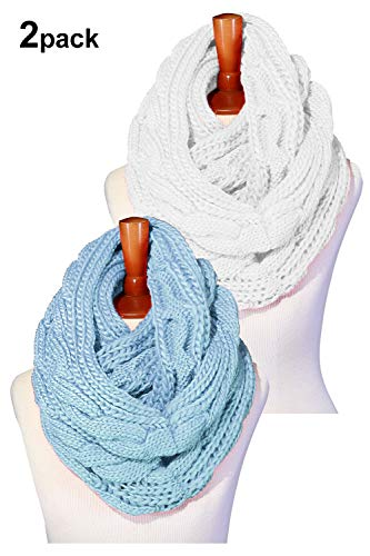 (Basico Women Winter Chunky Knitted Infinity Scarf Warm Circle Loop Various Colors (2pk Cable White/Baby)