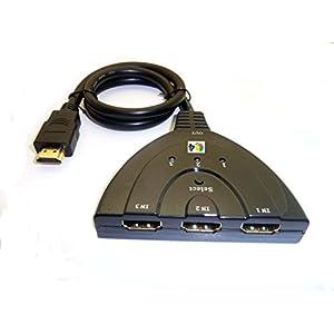 Switcher a tre porte Hdmi Inline; Cavo interruttore hdmi per tv fino a 3 dispositivi. 1080P Hd 3 spesavip
