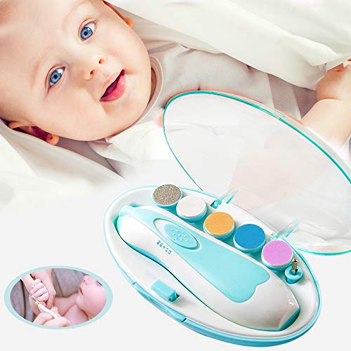 Electric Baby Nail Trimmer - Safe Toenail and Fingernails Care Trim with LED Light for Infant Toddlers Kids Adults - with 6 Interchangeable Pads and Adjustable Speed (Trim Fingernail Clippers Kit)