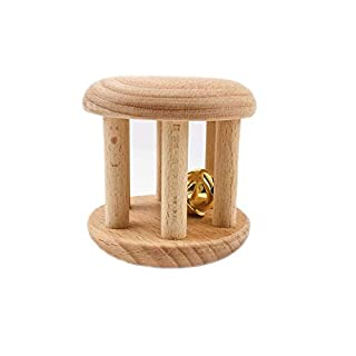 Promise Babe Infant Gym Organic Wooden Rattle Wooden Bells Rattles Nursing Shower Gifts Waldorf Toys