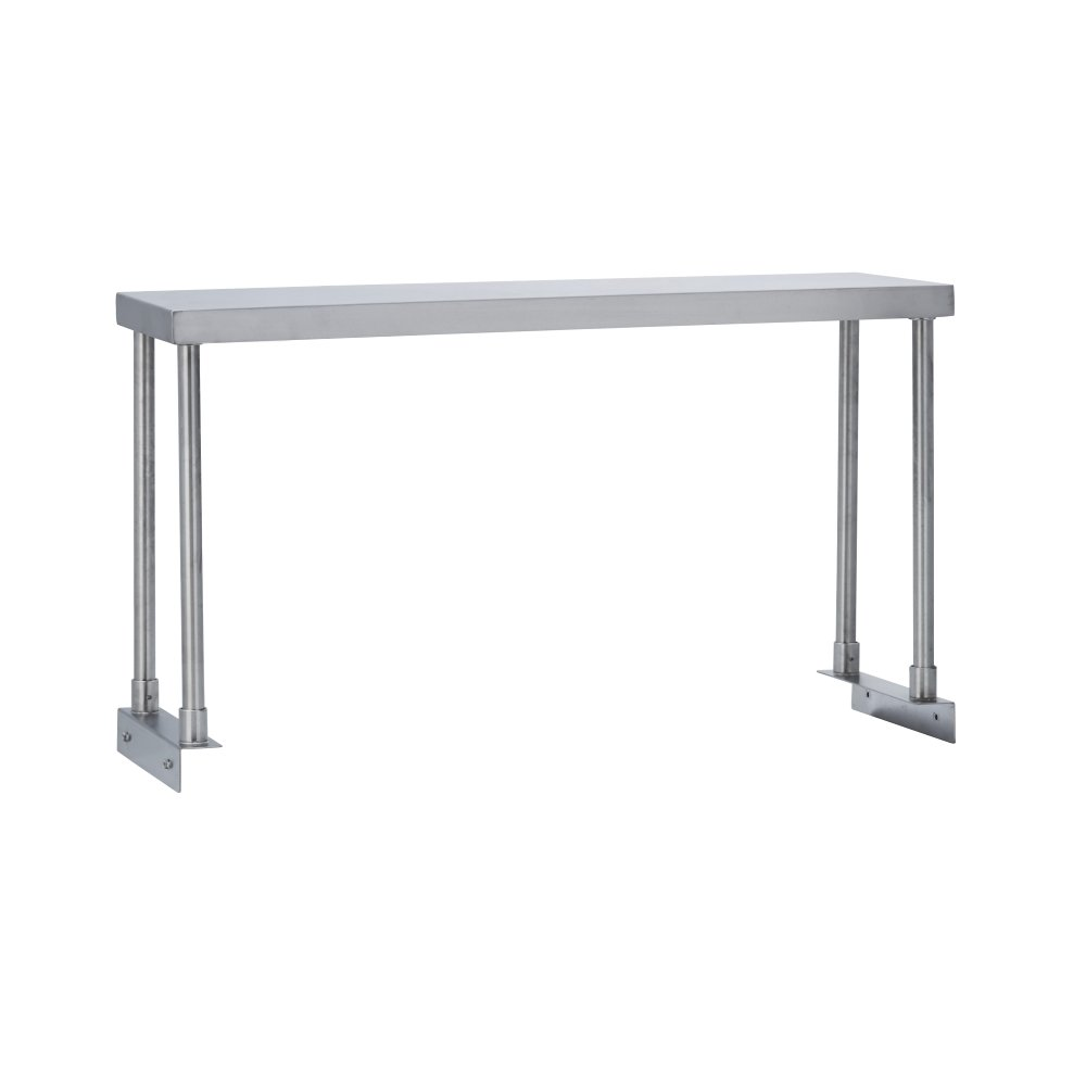 Fenix Sol Commercial Kitchen Stainless Steel Single Overshelf for Work Tables, 12'' W x 60'' L x 19'' H, NSF Certified