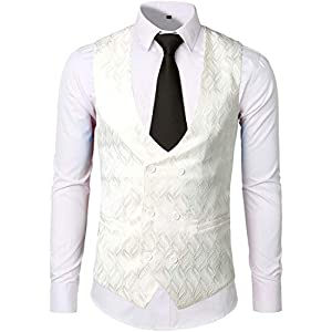 ZEROYAA Mens Hipster V Neck Slim Fit Double Breasted Paisley Dress Vest for Suit or Tuxedo