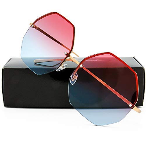 (The Fresh Fashion Designer Oversize Hexagon Metal frame Ocean Colored Lens Women Sunglasses with Gift Box (Gold,)