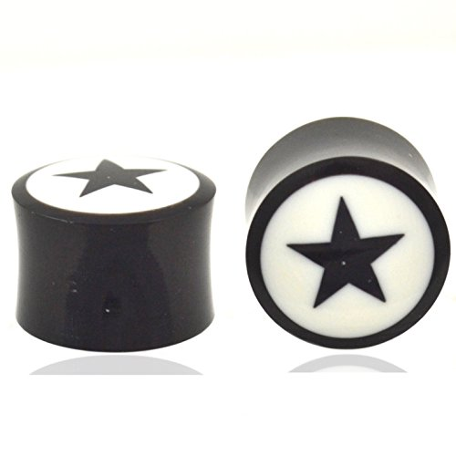 Pair (2) Black and White Buffalo Horn Star Ear Plugs Unique Organic Gauges - 1/2