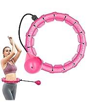 Gewogen slimme hoelahoep, intelligente fitness hoepels 24 knopen afneembare ring 2 in 1 verstelbare maat met zwaartekracht gewicht bal 360 graden draaien geen val voor kinderen en volwassenen Oefening en fitness - roze