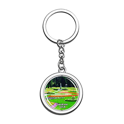 Keychain Manito Park Spokane United States USA US Keychain Crystal Spinning Round Stainless Steel Keychains Souvenir Key Chain Ring]()