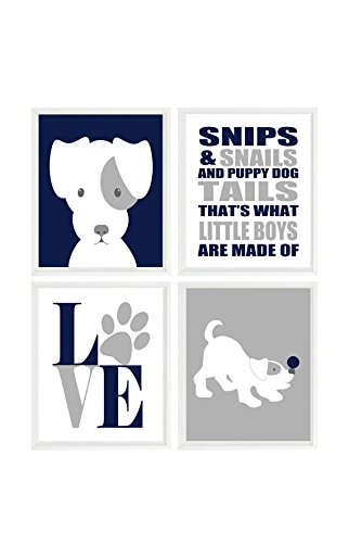 Puppy Nursery Theme (Puppy Nursery Art, Dog Wall Art, Snips And Snails Quote, Love Print, Baby Boy Nursery, Navy Blue, Gray, Dog Nursery Theme, Boy Room, Gift)