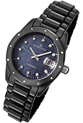 Rougois Women's Black Ceramic Watch with 23 Genuine Diamonds and Mother of Pearl Dial