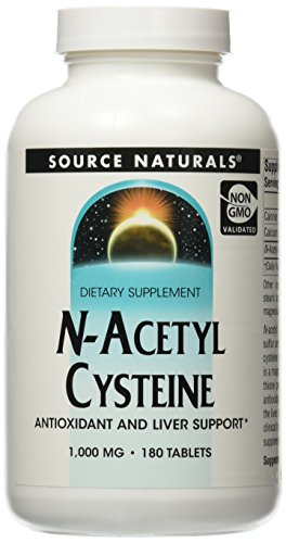 Source Naturals N-Acetyl Cysteine Antioxidant Support 1000 mg Dietary Supplement That Supports Respiratory Health – 180 Tablets