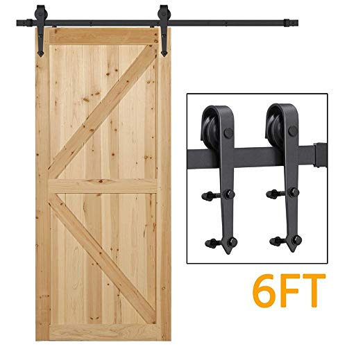 Yaheetech 6 Ft Interior Black Steel Single Sliding Barn Closet Door Hardware Track System Kit Set (Header Size For 12 Foot Garage Door)