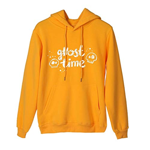 Aunimeifly Ladies Halloween Ghost Printed Hoodie Women Simple Hooded Long Sleeve Sweatshirt Casual Top Pocket Pullover Yellow