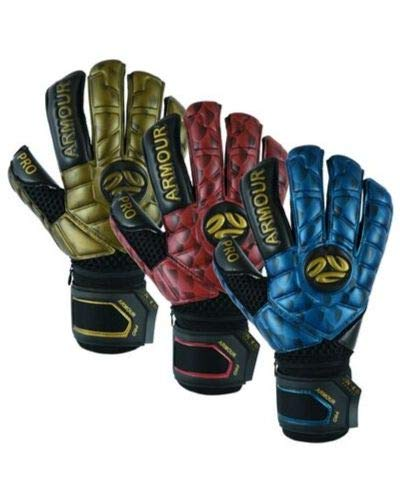 K-LO Fingersave Goalkeeper-Soccer Goalie Gloves- Armour Pro-Pack Extra Precision Grip, German Latex Build-Hybrid Cut, Inside Silicone Gel, Non-Slip-Youth-Kids + Adult Sizes Free Items Included