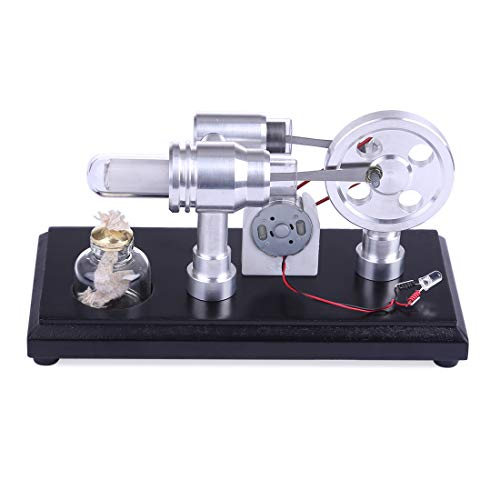 (Yamix Double-Cylinder DIY Stirling Engine Motor Model External Combustion Engine Educational Toy Electricity Generator)