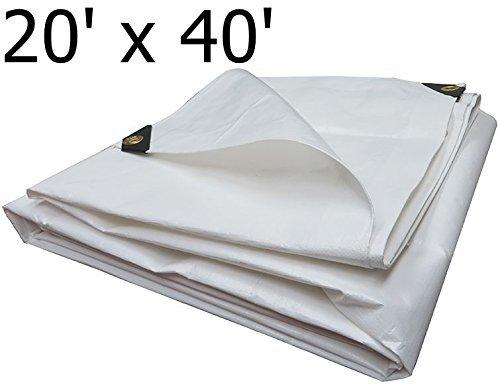Heavy Duty Tarpaulin All Purpose Reinforced Canopy Poly Tarps 6Oz 12 Mil (White) (20 X 40 Feet)