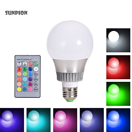 LED RGB Lampen, Sunpion® 10W Dimmbar Glühbirne 16 Farben zur Wahl, inklusive Fernbedienung, Farbwechsel Lampen, LED Birnen, LED Leuchtmittel (10W E27)