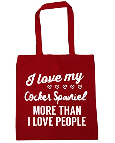 HippoWarehouse I love my cocker spaniel more than I love people Tote Shopping Gym Beach Bag 42cm x38cm, 10 litres Classic Red