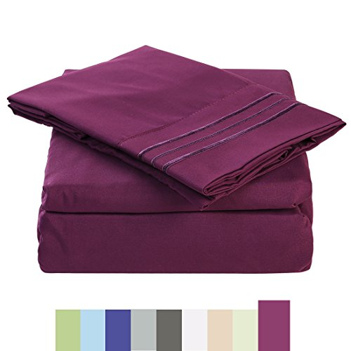 Bed Sheet Set - Microfiber Bedding Deep Pockets sheets 4 pc by Maevis (Purple,Queen)