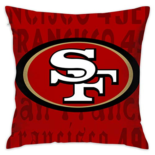 ful San Francisco 49ers Pillow Covers Standard Size Throw Pillow Cases Decorative Cotton Pillowcase Protecter Zipper - 18x18 Inches ()