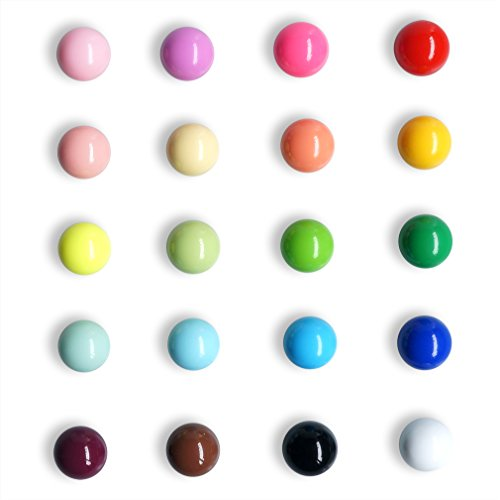Fridge Magnets Spherical Muliticolor Refrigerator Office Magnet for Calendars Whiteboards Maps Resin Fun Decorative Decoration 20 Pack ()