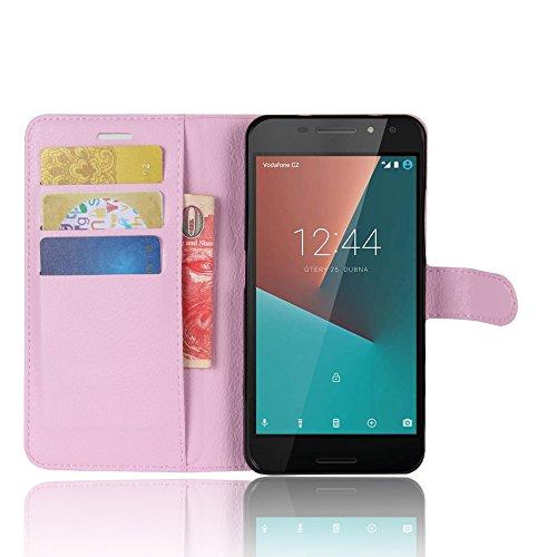COVO Vodafone Smart N8 Funda Faux Cuero Billetera Funda para Vodafone Smart N8 con Stand Función(Negro) Rosado