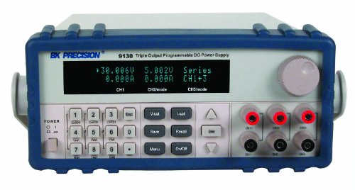 B&K Precision 9130TCAL Triple-Output Programmable DC Power Supply, 30V DC, 3 Amp with a NIST-Traceable Calibration Certificate with Data