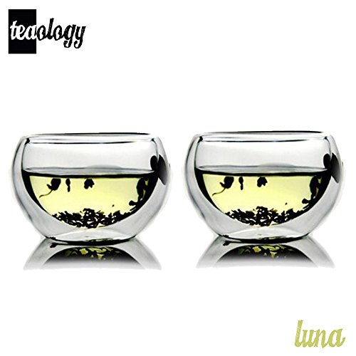 Set of 2 Teaology Luna Double Wall Borosilicate Tea/Espresso Cups
