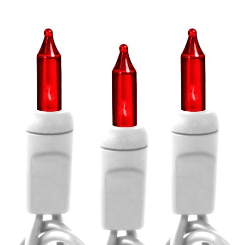 Red - 100 Bulbs - Length 21 ft. - Bulb Spacing 2.5 in. - White Wire - Christmas Mini Light String - HLS 2.5-100-RED-W -