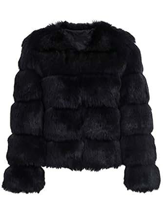 Simplee Women Luxury Winter Warm Fluffy Faux Fur Short
