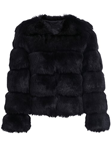 Simplee Women Luxury Winter Warm Fluffy Faux Fur Short Coat Jacket Parka Outwear, Black, 1/3, Medium