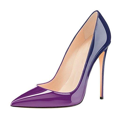 Büro Damen Schwarz Blue Klassische High Sexy Purple Stiletto Gradient Heels Kleid Pumps Jushee A81qwdB1