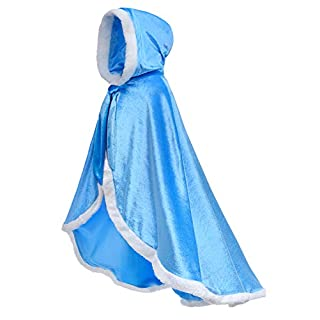 Party Chili Fur Princess Hooded Cape Cloaks Costume for Girls Dress Up Blue 8-10 Years(140cm)