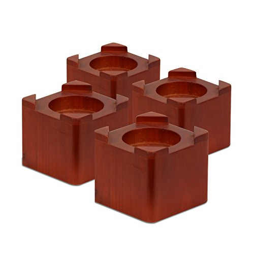Honey-Can-Do STO-01151 Wood Bed Lifts, Cherry Finish, 4-Pack - Cherry Wood Finish Bed