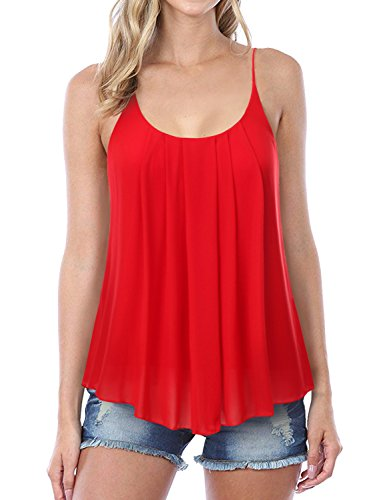 NINEXIS Womens Sleeveless Pleated Chiffon Layered Cami Tank Top RED ()