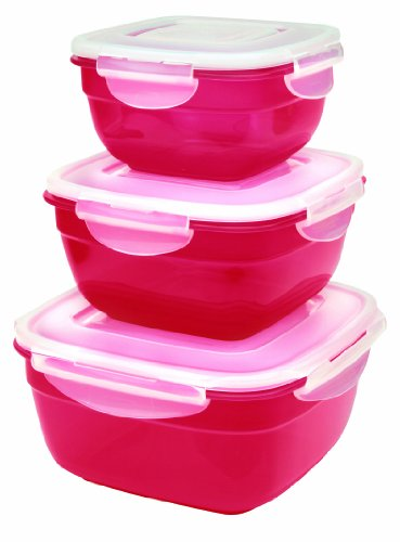 Price comparison product image Lock 'n' Lock Airtight Red 3 Bowl Nestable Set by iSi