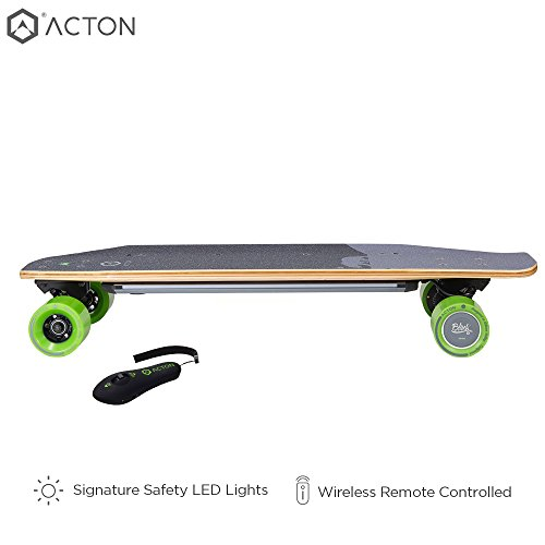 ACTON Blink S2 | Powerful Dual Hub Motors Electric Skateboard for Commute | 14 Mile Range | 18 MPH Top Speed | LED Lights | Bluetooth Remote Control Included