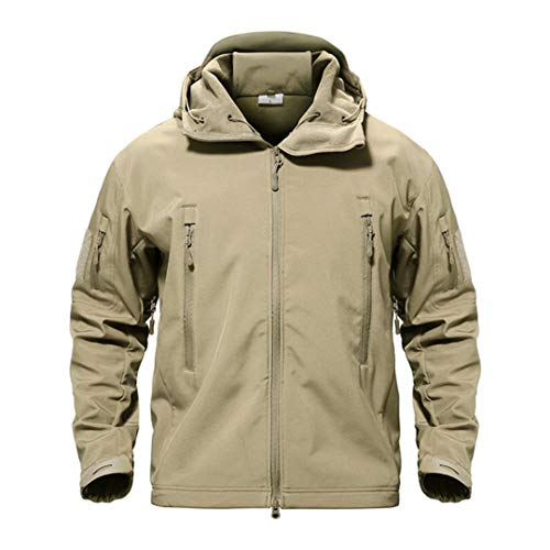 KJDIHBS Outdoor Softshell Jacket Waterproof Hiking Camping Jacket Military Tactical Hunting Jackets Winter Windproof Jacket Khaki XL