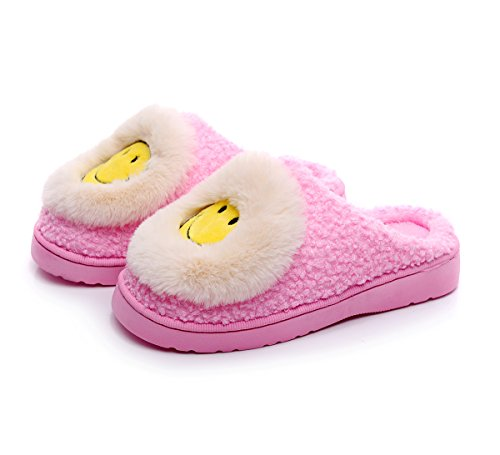 House Slippers Plush Slip Lined Womens On Clog Pink Havina Smile Indoor And Mens Fleece 7xSPZ