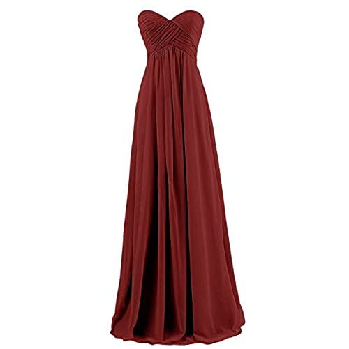 Ouman Sweetheart Bridesmaid Chiffon Prom Dress Long Evening Gown Burgundy M