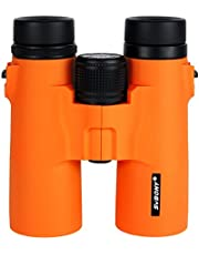 SVBONY SV-21 Binoculars 10x42 Compact Multi Coated Roof Prism with Twist-up Outdoor for Shooting Hunting Bird Watching Hiking Travel Wildlife Orange