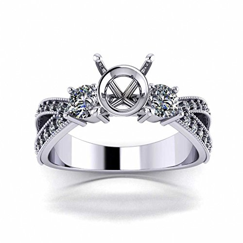 Diamond Ring Mounting - 1.00 Ct Split Shank Round Cut Diamond Semi Mounting Engagement Ring in 14 kt White Gold In Size 3.5