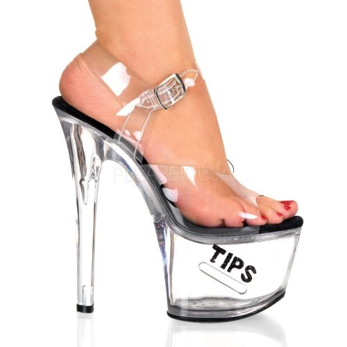 Pleaser Tipjar-708-5 - Sexy Plateau High Heels Sandaletten mit Tip-Slot 35-45