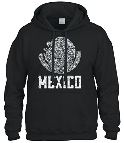 Arms Sweatshirt - Cybertela Mexico Coat Of Arms Sweatshirt Hoodie Hoody (Black, X-Large)