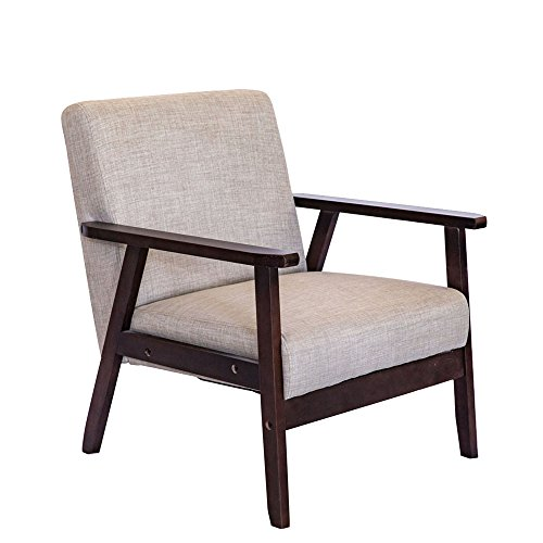 Cheap Living Express Mid Century Modern Accent Armchair,Indoor Muted Fabric Accent Chair,Living Room Chair,Wooden Low Lounge Chair,Brown