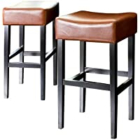 Christopher Knight Home 211321 Leather Backless Barstools (Set of 2), Hazelnut