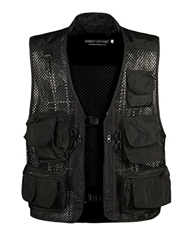 Gihuo Men's Outdoors Utility Hunting Travels Tactical Mesh Removable Vest with Multiple Pockets (L, Black) by Gihuo