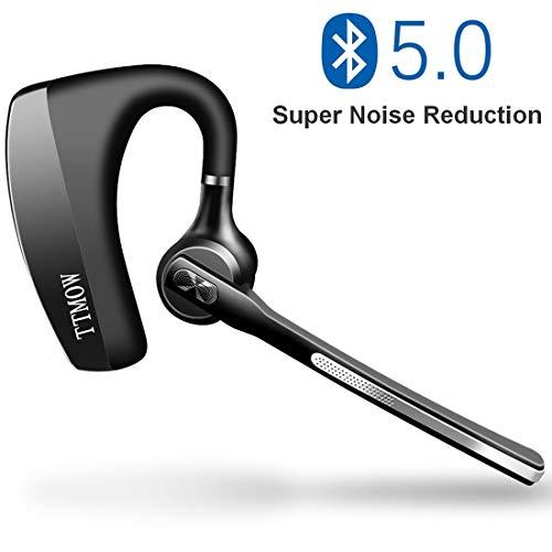 TTMOW Auriculares Bluetooth 5.0 Manos Libres con Dos Microfono de Reduccion de Ruido CVC 8.0 en Conductores Oficina Reunion de Negocios para Todos los Moviles, Color Negro