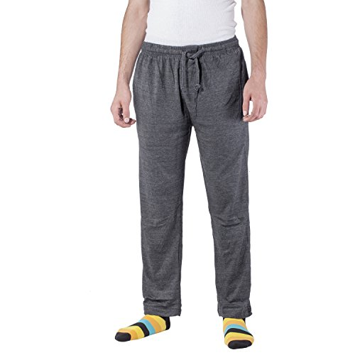 Arctic Pole Men's Jersey Knit Pajama/Lounge Pants - 100% Cotton - Side Pockets - Adjustable Waist with Drawstring - Charcoal (Pocket Drawstring Pant)
